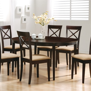 Mix and Match Oval Dining Leg Table & Cross Back Dining Chair in Cappuccino-Set of 2