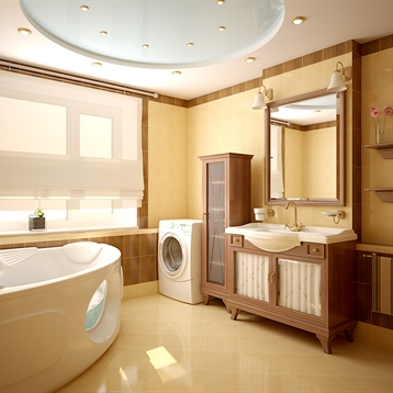 Spacious Luxury Bathroom with Jacuzzi Tub, Tile Floor, and Wooden Vanity and Shelving