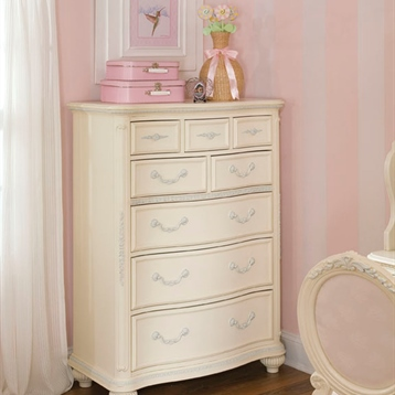 Jessica McClintock Drawer Chest In Antique White With Silver Tipping Accents