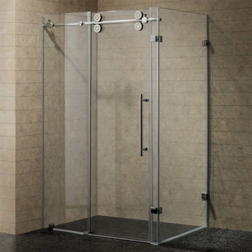 """36"""" x 48"""" Frameless 3/8"""" Shower Enclosure in Clear/Chrome"""