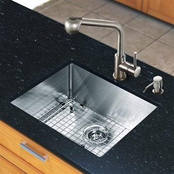 """All in One 23"""" Undermount Stainless Steel Kitchen Sink and Faucet Set"""