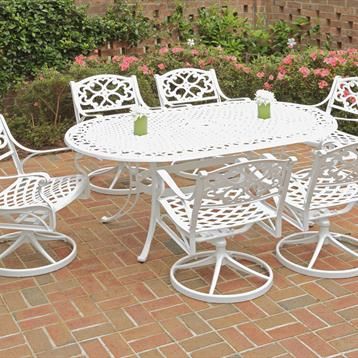 """Biscayne 7 Piece 72"""" Outdoor Oval Table w/ 6 Cushioned Swivel Chairs in White/Green"""