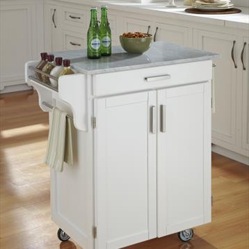 Cuisine Cart in White with Marble Top