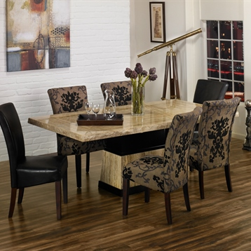 Armen Living Rectangular Dining Table with Stone and Wood Base