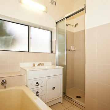 Retro white vanity with walk in shower separate bath and single floral accent tile