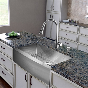 """All in One 36"""" Stainless Steel Single Bowl Kitchen Sink & Stainless Steel Faucet Set"""