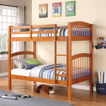 Twin Bunk Bed in Oak with Built-In Ladder