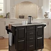 Create-a-Cart Kitchen Cart in Black with Marble Top