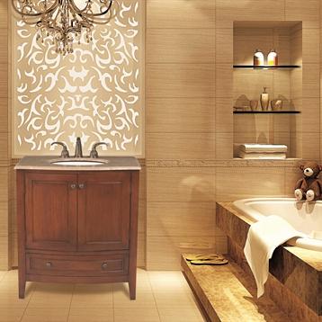 """32"""" Single Sink Bathroom Vanity with Baltic Brown Granite Top"""