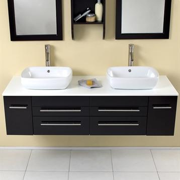 Belleza Modern Double Vessel Sink Bathroom Vanity in Natural Wood