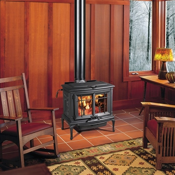 Mission Inspired Sitting Room with Wood Burning Stove