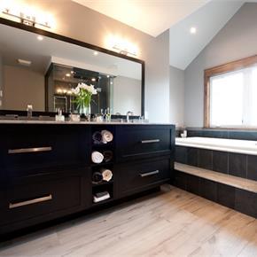 Kitchen Craft bathroom cabinets, bathtub double sink with storage mirror for Contemporary Bathroom