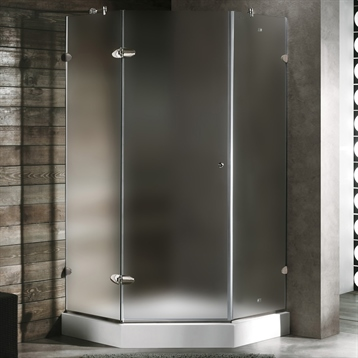"""36"""" x 36"""" Frameless Neo Angle 3/8"""" Shower Enclosure in Frosted/Chrome with Right Base"""