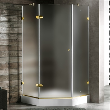 """36 x 36 Frameless Neo-Angle 3/8"""" Frosted/Polished Brass Shower Right with Low-Profile"""