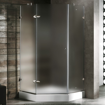 """40"""" x 40"""" Frameless Neo Angle 3/8"""" Shower Enclosure in Frosted/Chrome with Right Base"""