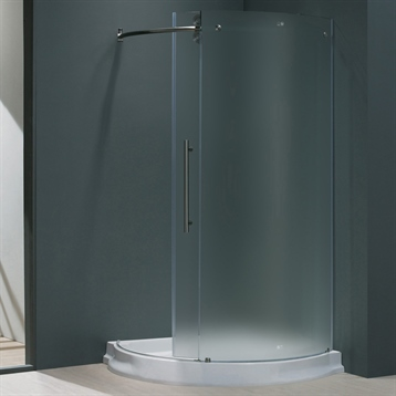 """40x40 Frameless Round 5/16"""" Frosted/Stainless Steel Shower Enclosure Left Door w/Base"""