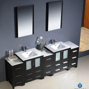 "Torino 84"" Modern Double Sink Bathroom Vanity"
