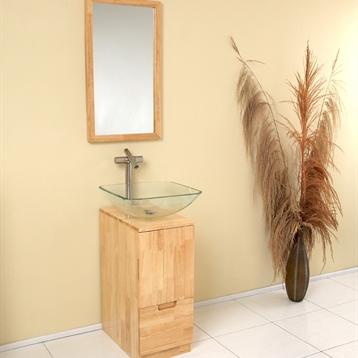 Brilliante Modern Bathroom Vanity in Natural Wood with Mirror