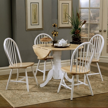 Coaster Furniture Damen Round Pedestal Drop Leaf Table in Natural with Dining Chairs