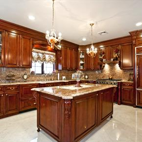 Luxury Kitchen with Granite and Gleaming Wood