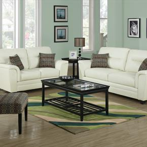 Bonded Leather Love Seat In Ivory With Accent Pillows & Earth Tone Oval Accent Chair