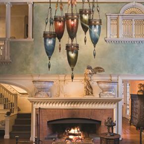 Fine Art Lamps Livingroom Six Light Ceiling Chandelier with Fireplace