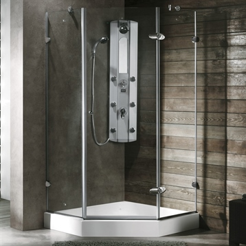 """38"""" x 38"""" Frameless Neo Angle 3/8"""" Shower Enclosure in Clear/Chrome with White Base"""