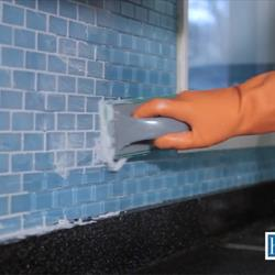 Press grout into the joints