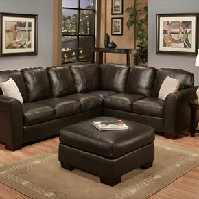 Lucia Leather Sectional And Ottoman In Dark Brown