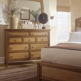 Antigua Accent Landscape Mirror and Tall 9 Drawers Dresser In Toasted Almond